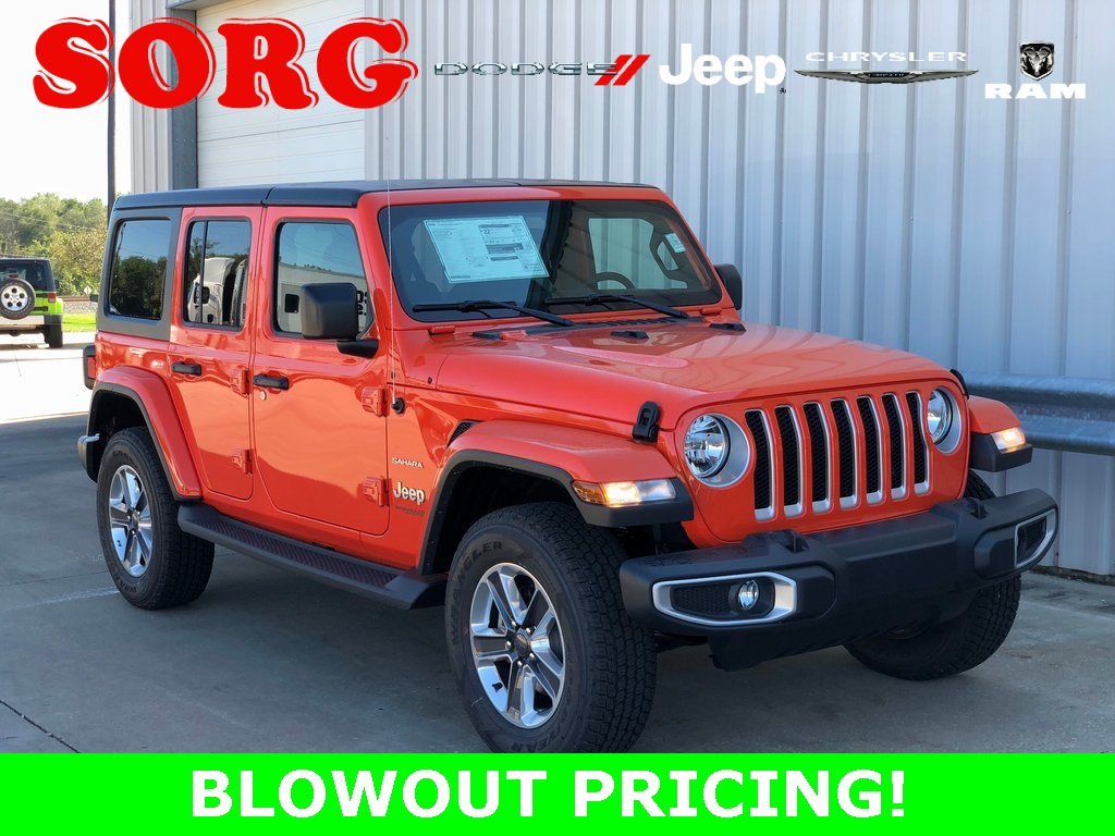 New Orange Orange 2018 JEEP Wrangler Unlimited Sahara Sport Utility 1C4HJXEN1JW197997 J5635 2.0L 4-Cylinder Turbocharged 8-Speed Automatic SUVs AWD; Heated Seats