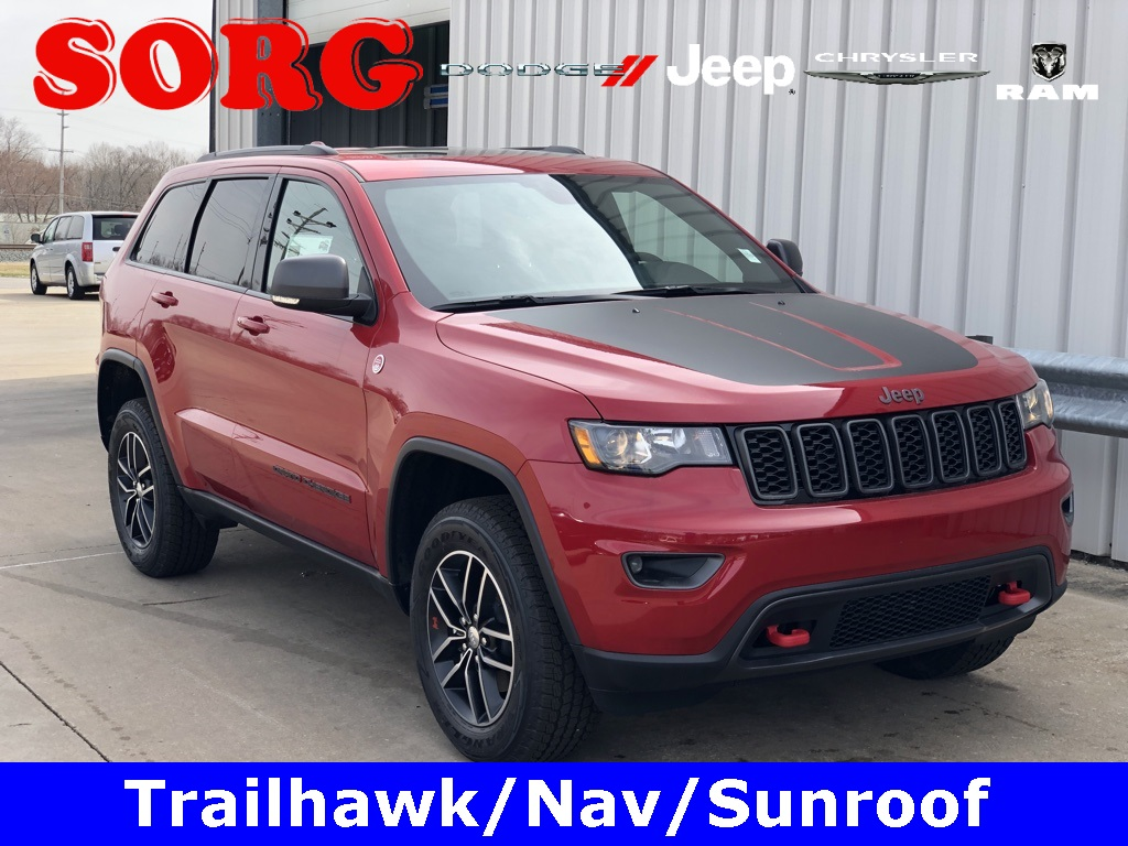 New Red Red 2019 JEEP Grand Cherokee Trailhawk Sport Utility 1C4RJFLG4KC608119 K5179 3.6L V6 24V VVT 8-Speed Automatic SUVs AWD; Sunroof / Moonroof; Tow Package