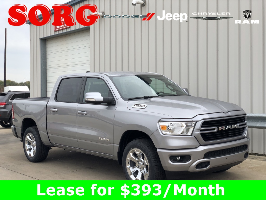 New Silver Silver 2019 RAM All-New  1500 Big Horn/Lone Star Crew Cab 1C6RRFFG7KN672591 K5131 3.6L V6 24V VVT 8-Speed Automatic Trucks AWD; Interior Accents; Remote Start; Satellite Radio Ready; Tow Package