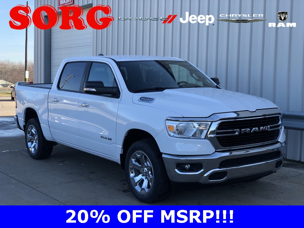 New White White 2019 RAM All-New  1500 Big Horn/Lone Star Crew Cab 1C6SRFFTXKN709955 K5158 HEMI 5.7L V8 Multi Displacement VVT 8-Speed Automatic Trucks AWD; Remote Start; Satellite Radio Ready