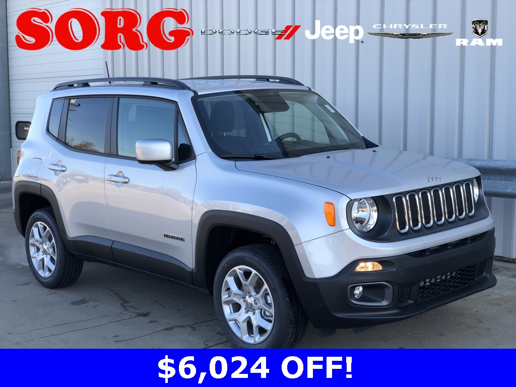 New Silver Silver 2018 JEEP Renegade Latitude Sport Utility ZACCJBBB0JPJ42152 J5722 2.4L I4 9-Speed 948TE Automatic SUVs AWD; Heated Seats; Remote Start