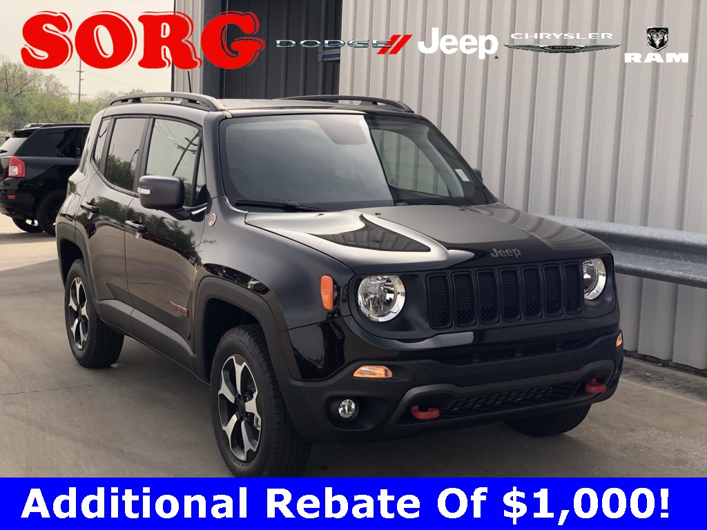 New Black Black 2019 JEEP Renegade Trailhawk Sport Utility ZACNJBC17KPJ87654 K5294 1.3L I4 9-Speed 948TE Automatic SUVs AWD; Heated Seats; Keyless Entry; Premium Audio; Remote Start; Sunroof / Moonroof; Tow Package